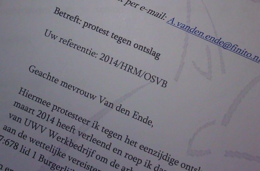 Ontslag op staande voet: protestbrief
